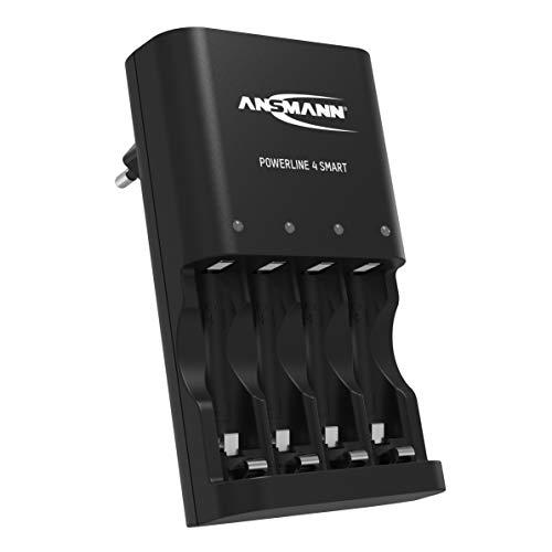 ANSMANN Batterieladegerät für 4x NiMH AA/AAA Akkus & wiederaufladbare Batterien - Automatik Akku Ladegerät mit Repair-Modus für Akkubatterien - Powerline 4 Smart Batterie Ladegerä