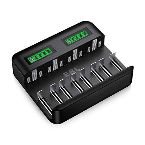 EBL Akku Ladegerät-Schnell Batterie ladegerät-für AA AAA C D NI-Mh/NI-CD Akku mit Type C Input -schnelle Aufladung, automatische Erkennung & Abschaltung, LCD Anzeige Batterienladegerä