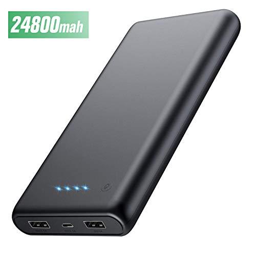 HETP Powerbank 24800 mah Externer Akku Power Pack Ladegerät Ultra Kompakter Dual Output Extrem hohe Kapazitat Tragbares Ladegerät Externer Batterie Pack für Handy, Tab