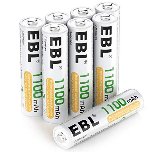 EBL Micro AAA Akku NI-MH Akkubatterien 1100mAh 8 Stück mit Aufbewahrungsbox, geringe Selbstentladung