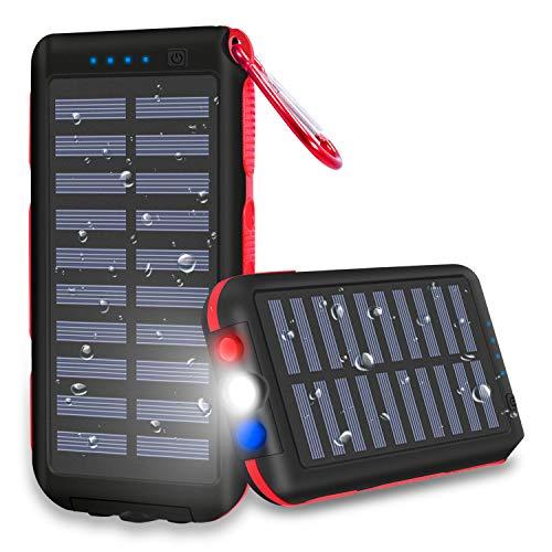 XINSL Powerbank Solar 25000mAh Solar Ladegerät Externer Akku Wasserabweisende tragbares Ladegerät mit 3 Ausgänge LED Taschenlampe & SOS-Warnlampe für Smartphone Tablet für Outdoor Reisen Dienstreis