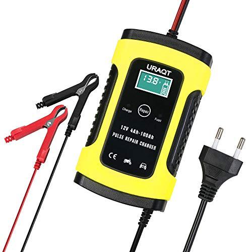 URAQT Batterie Ladegerät Auto, 6A 12V Batterieladegerät Auto Erhaltungsladegerät mit Mehrfachschutz für Auto, Motorrad, Rasenmäher oder Boo
