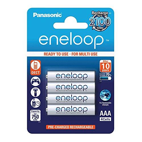Panasonic eneloop, Ready-to-Use Ni-MH Akku, AAA Micro, 4er Pack, min. 750 mAh, 2100 Ladezyklen, starke Leistung und geringe Selbstentladung, wiederaufladbare Akku Batterie, Akkubatter