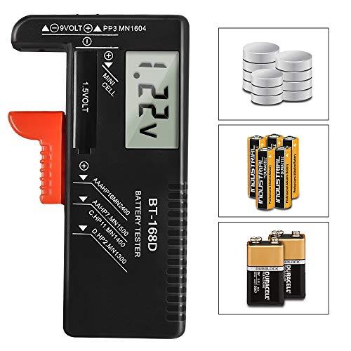 Batterietester,tonitott Batterie Testgerät BT-168D Universal Batterie Pruefgeraet Digitaler Akku Testgerät für AAA, AA, C, D, PP3,1,5 V, 9 V, N- und Knopfz