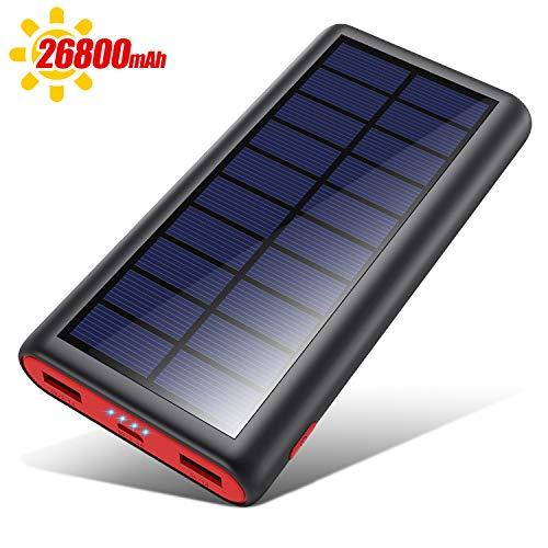 VOOE Solar Powerbank 26800mAh Externer Akku, Solar Ladegerät mit 2 Ausgänge, Solar Power Bank mit Automatische Erkennen Technologie, Solar Akkupack Power Pack für Smartphones, Tablets und USB-Gerä