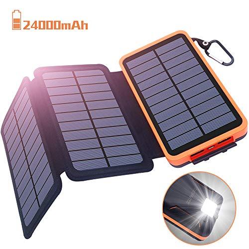 Powerbank Solar Externer Akku 24000mAh Solar Ladegerät mit 3 Solar Panels Dual USB 2.1A, Notfall-Energie mit LED-Licht & Haken für iPhone,Samsung,iPad,und andere Smartphones/Handys, Wasserdich